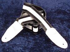 REBEL FANCY FAUX LEATHER GUITAR STRAP GTO SERIES BLACK / WHITE