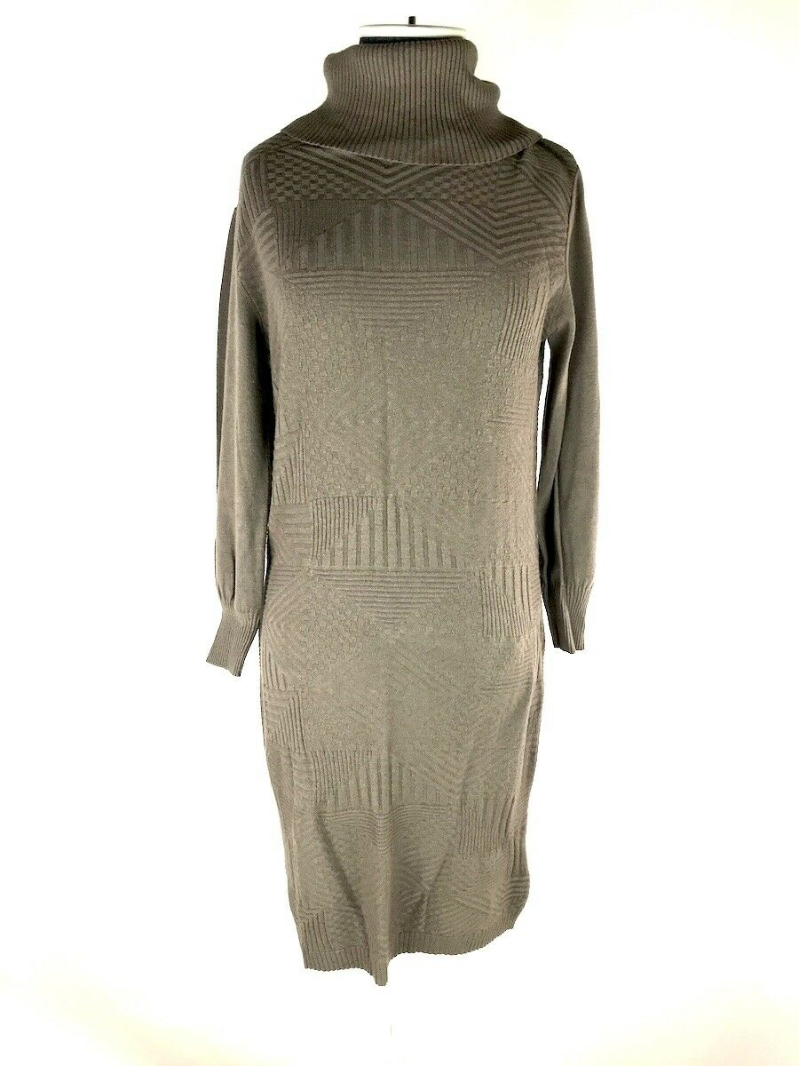 LAVIA Loro  Marrón Topo Cuello De Tortuga Suéter De Punto Vestido ajustado mano lavable M  Con 100% de calidad y servicio de% 100.