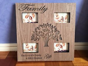 Large Family Tree Wooden Photo Picture Frame Led Light Up Gift