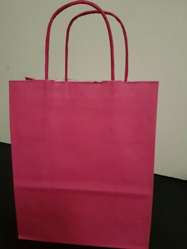 gift bag 5 Pink kraft paper bag with twisted handles party bag