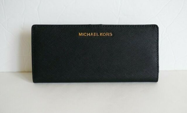 NWT MICHAEL KORS JET SET TRAVEL FLAT SLIM BIFOLD WALLET LEATHER BLACK