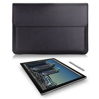 Microsoft Surface Pro 4/pro 3 Case Sleeve Bag Leather Carrying Wallet Black