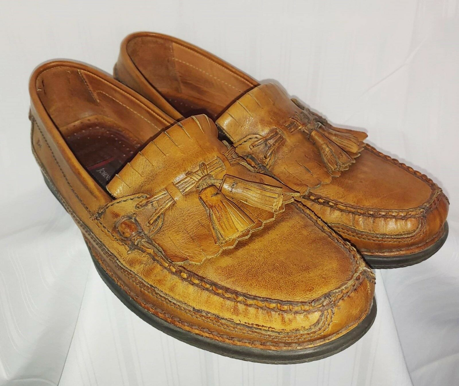 Johnston & Murphy 13M Tassel Fringed Loafers Tan Brown Leather mens BRAZIL