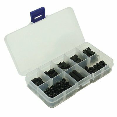 T14 180 Pcs Different Size M3 Nylon M-F Hex Spacers Screw Nut Assortment Kit (B)