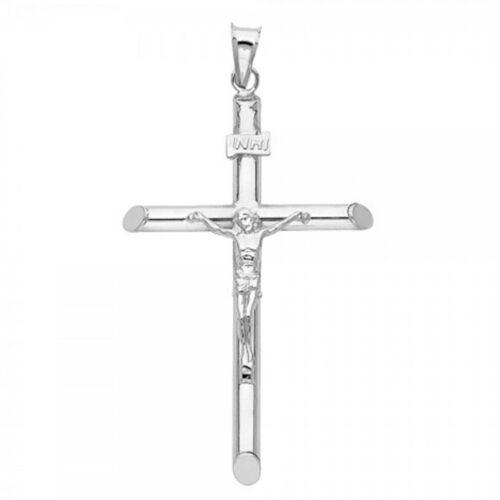 Plain 1 3//4 Inch Cross 14k Solid Gold Pendant Classic Crucifix Jesus Religious