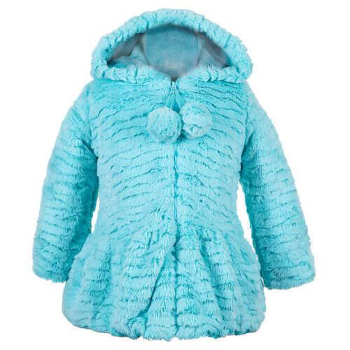 American Widgeon Girls Hooded Faux Fur Jacket Coat Blue  Sz 3t  4t  5