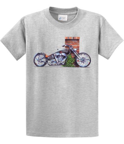 Kurbside Kustoms Gray V-Twin Motorcycle 100/% Preshrunk Cotton T-shirt BG-M5