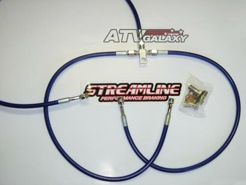 Streamline Steel Braided Front Brake Lines BLUE Kawasaki KFX700 KFX 700 All