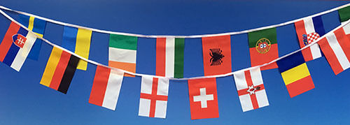 """Euros Football 16M Giant Material Bunting  Each Flag 18/"""" x 12/"""" Ideal for Outside"""