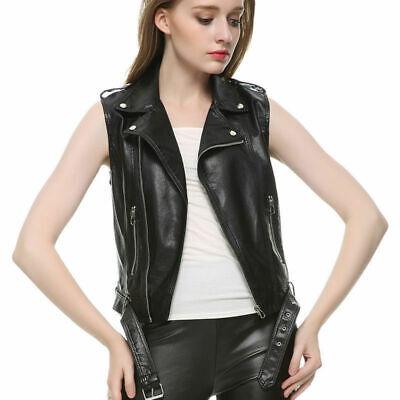 Ladies Real Leather Jacket Black Wax Slim Fit Fashion Biker Lambskin Jacket 7303
