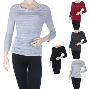 Women-039-s-Solid-Ruched-Side-Cowl-Neck-Top-3-4-Sleeve-Maternity-Stretchable-S-M-L