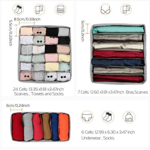 3pcs Drawer Divider Closet Underwear Socks Bra Organizer Container Storage Box