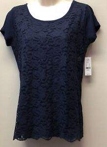 NWT-New-York-and-Company-Short-Sleeve-Blue-Lace-Overlay-Top-T-Shirt-Womens-XS