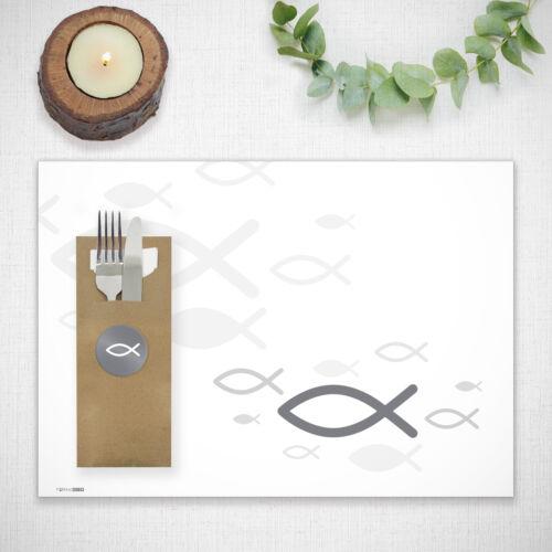 itenga Platzset Tischset Kommunion Taufe Konfirmation Fisch grau DIN A3 50 Blatt