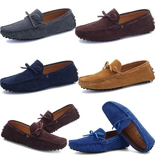 Mens Casual Slip On Loafers Suede Leather dress shoes Driving Moccasins