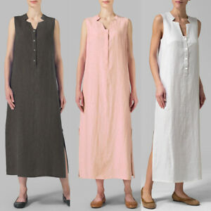 Women Cotton Maxi Dress Sleeveless Casual Boho Kaftan Tunic Plus ...