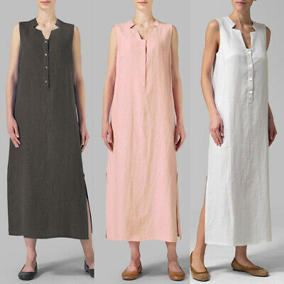 Women Cotton Maxi Dress Sleeveless Casual Boho Kaftan Tunic Plus Size S-5XL Y4F4