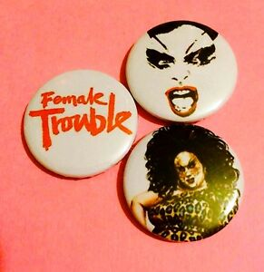 Set-Of-3-Female-Trouble-Divine-John-Waters-button-pin-badges