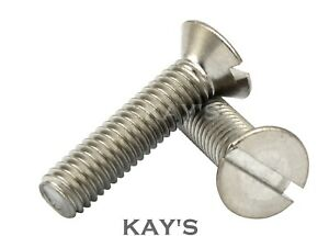 M4 4mm SLOTTED COUNTERSUNK MACHINE SCREWS A2 STAINLESS STEEL SLOT HEAD CSK BOLTS