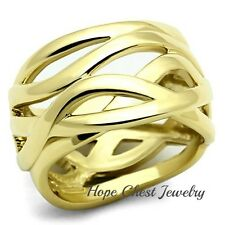 HCJ WOMEN'S GOLD TONE STAINLESS STEEL INTERTWINED WIDE BAND STATEMENT RING SZ 10