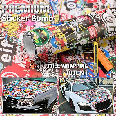 "*24/""x60/"" JDM Cartoon Stickerbomb Car Laptop Vinyl Sticker Wrap Decal Sheet #HF"