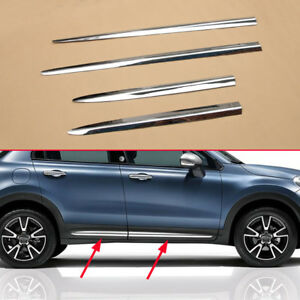 for fiat 500x 2015-2018 chrome door side body strips molding trims