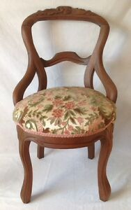 Antique-Victorian-Carved-Balloon-Back-Chair-Walnut-w-Chenille-Upholstered-Seat
