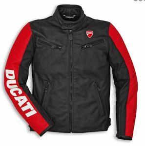 Ducati-Entreprise-C3-Veste-Homme-En-Cuir-noir-rouge-veste-en-cuir-noir-rouge