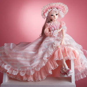 60cm BJD Doll 1//3 Ball Jointed Doll Dress Shoes Eyes Girl Makeup Pretty Xmas Toy
