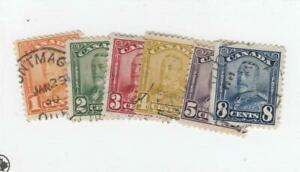 CANADA-MK4710-149-154-F-VF-USED-1-5-8cts-KGV-SCROLL-ISSUES-CAT-VALUE-36