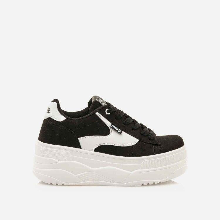 MUSTANG 69282 - Zapatillas nero bianco con platform in gomma