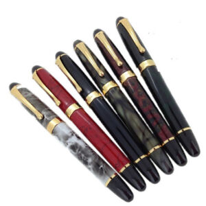 Jinhao-X450-Luxury-Metal-Gold-Clip-Fountain-Pen-Push-Fine-Nib-0-5mm-Writing-New