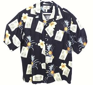 51fc14f3f Jamaica Jaxx Mens Silk Palm Trees Hawaiian Camp Button Up Shirt Size ...