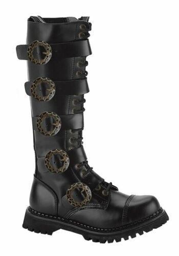 Men/'s 20 Eyelet Buckled Steel Toe Calf Boot Demonia STEAM-20