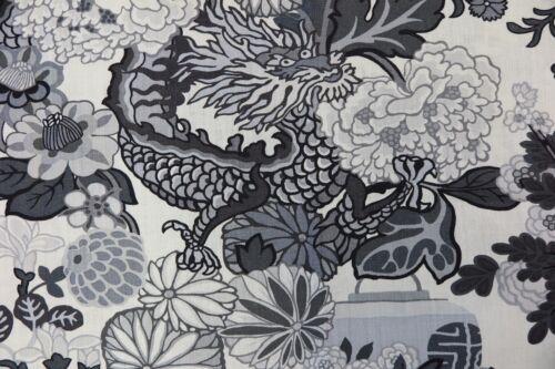 SCHUMACHER CURTAIN FABRIC DESIGN Chiang Mai Dragon 3.1 METRES SMOKE 100/%  LINEN