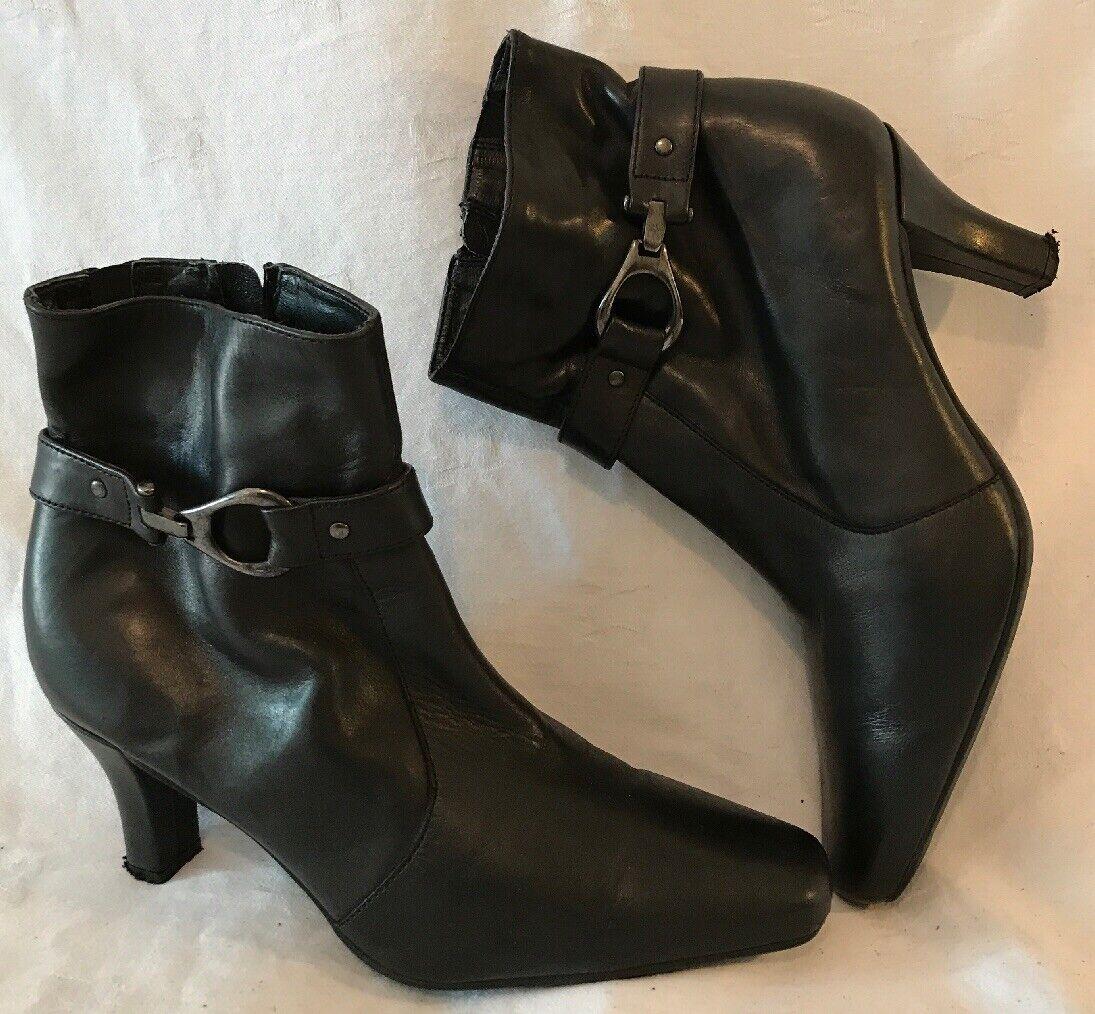Tlc Black Ankle Leather Lovely Boots Size 5 (358v)
