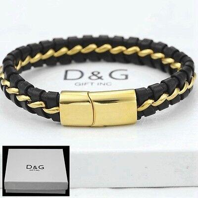 """DG Men/'s 8.5/"""" Gold Stainless-Steel Black,Braided Leather,Magnetic Bracelet* BOX"""