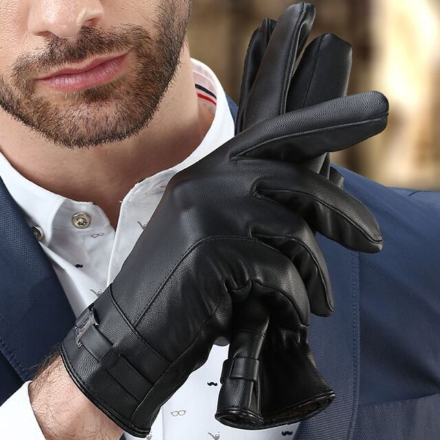 Protect Leather Gloves Touch Screen Thermal Thinsulate Lined Driving Warm Gloves