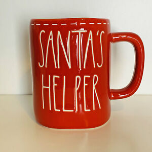 Rae Dunn Artisan Collection Christmas Santa's Helper Red Ceramic Coffee Mug