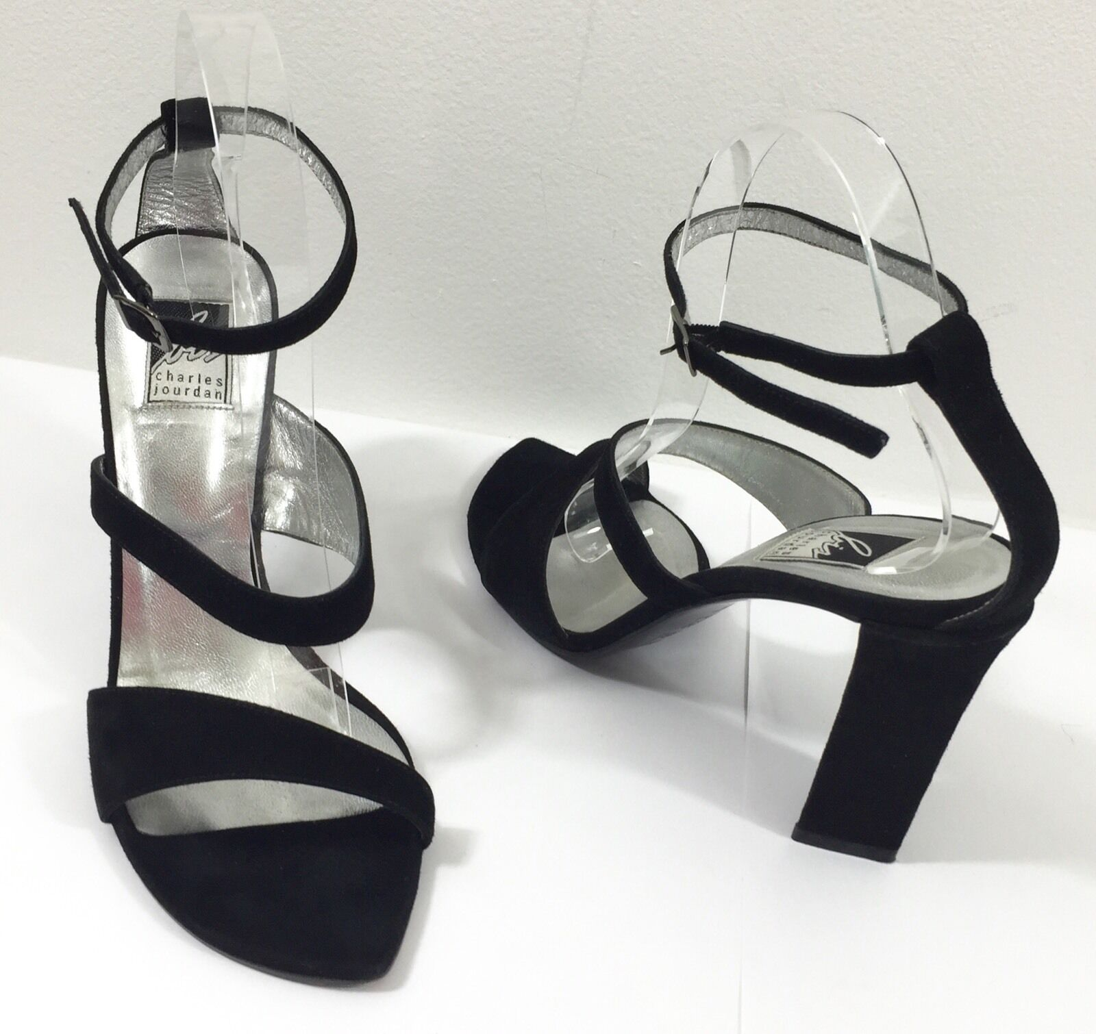 shopping online di moda Charles Jourdan Dimensione 9 m nero Suede High High High Heel Sandals  negozio all'ingrosso