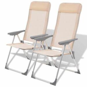 Fantastic Details About Vidaxl 2X Camping Chairs Aluminum Folding Cream Reclining Camp Outdoor Seat Inzonedesignstudio Interior Chair Design Inzonedesignstudiocom