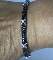 Black Spinel Bangle In Sterling Silver Nickel Free 6.5 Inch Sparkle Galore