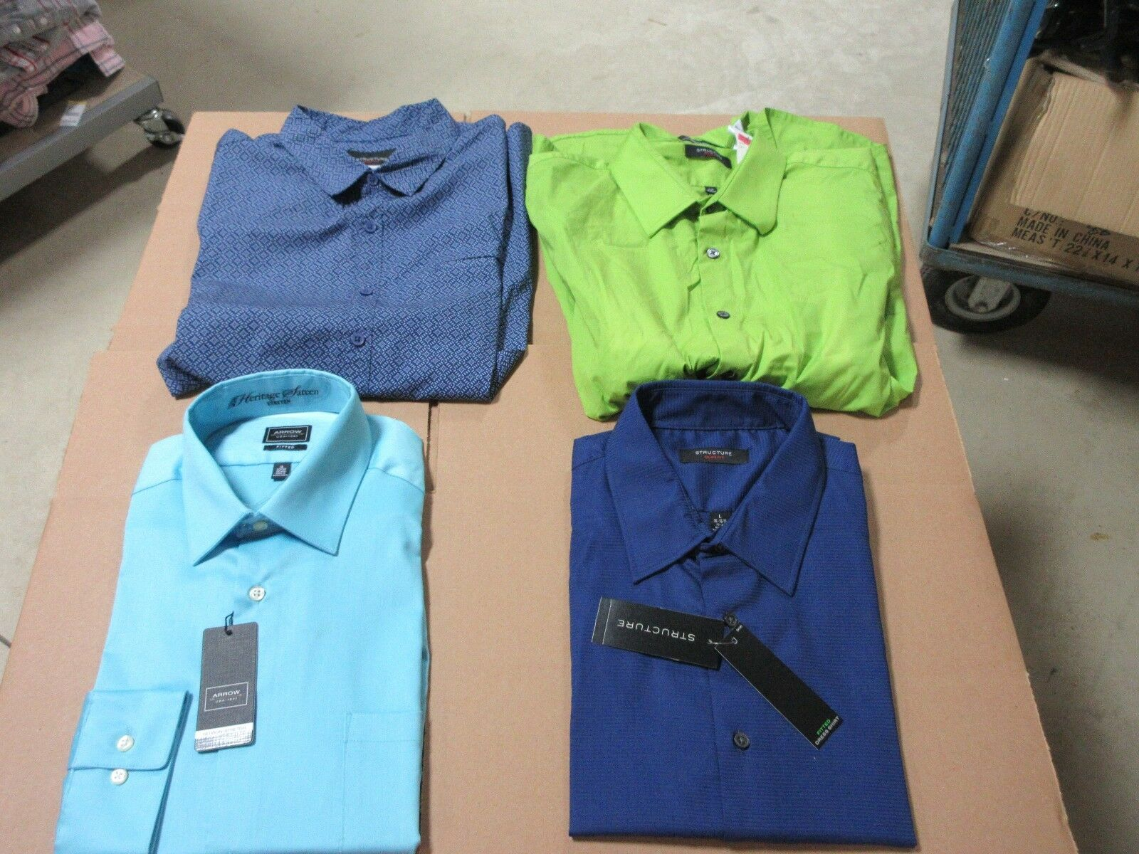 4 MENS COLLAR DRESS SHIRTS BUTTON DOWN BRIGHT PATTERN CLOTHES BULK LOT NEW