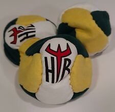 Hellbender 6 Panel SAND Filled Microsuede HackySack Footbag Green,White,Yellow