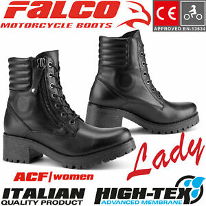Details zu FALCO Damen Motorradstiefel MISTY wasserdicht Leder CE mit Protektoren Gr. 38