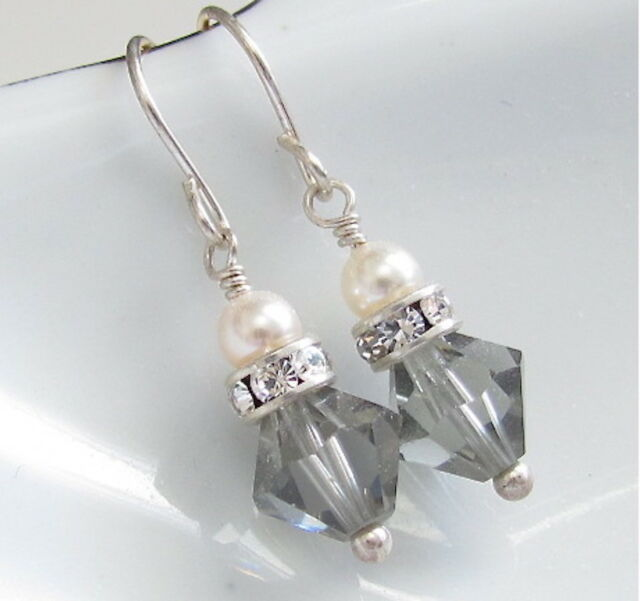 f46d88e88 Sterling Silver Crystal Earrings Gray WHITE PEARLS Dainty Dangle Gift  Wedding