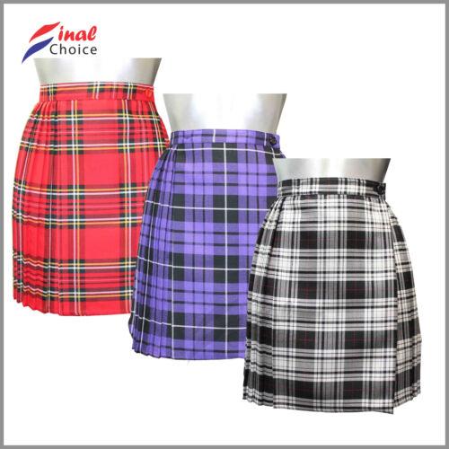 "Ladies Tartan Pleated Wrap Over Buttoned Kilt Skirt 18/"" Sz 8 10 12 14 16 18 •"