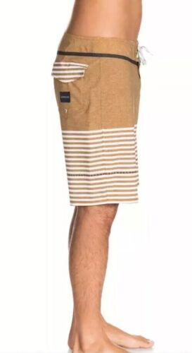NEW Quiksilver Men East Side Stripe UEA Boardshorts Mustard White AQBYSO3152 $59