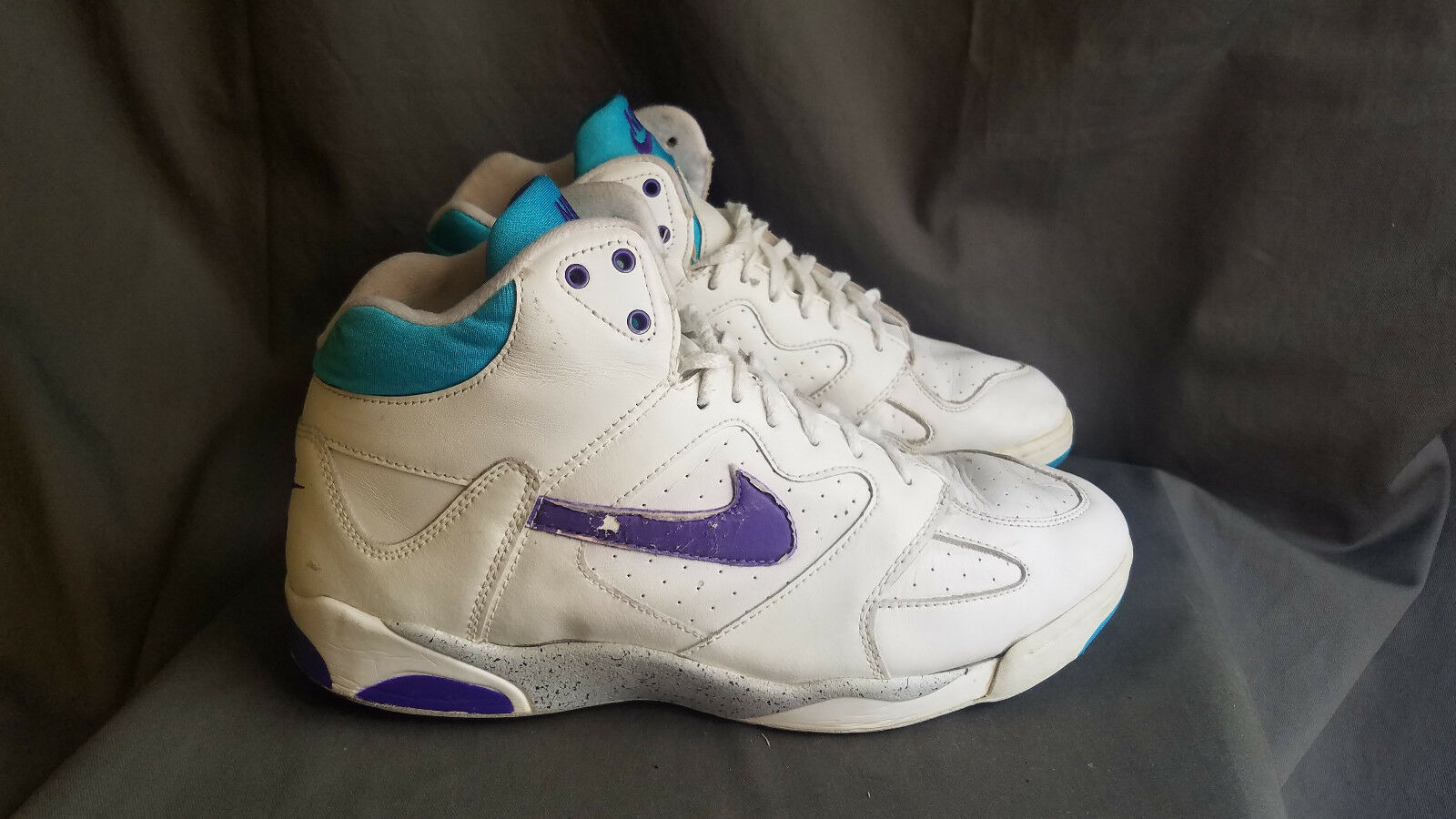 Men's White Leather NIKE AIR 1991 OG Basketball Sneakers Size 11 Made in Taiwan