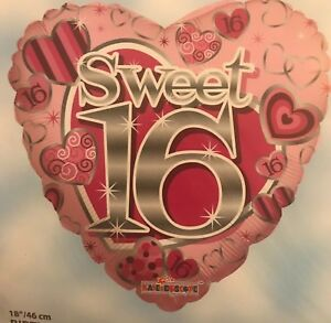 Image Is Loading 16TH BIRTHDAY SWEET 16 FOIL HELIUM BALLOON PINK